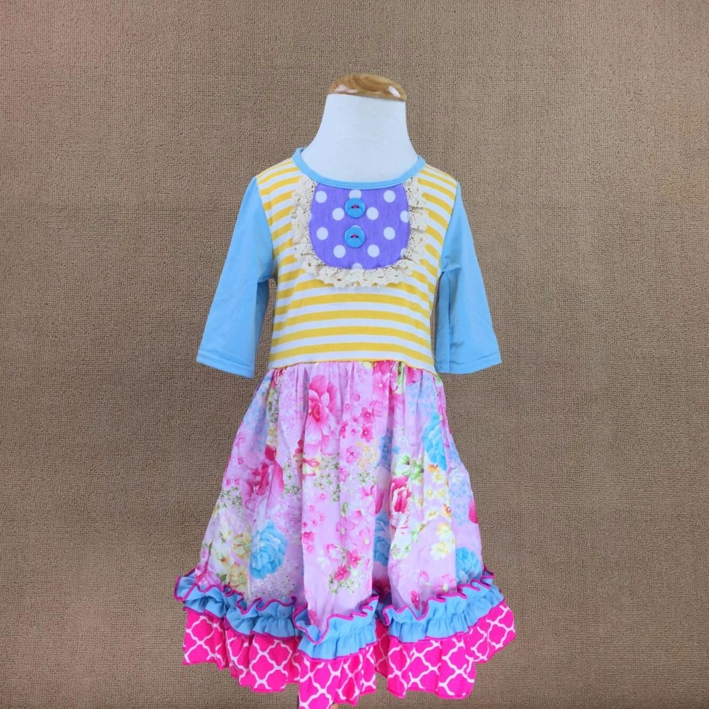 Summer Design By Novel Sleeveless 100% Cotton Baby Girls Outfits Infants And Children Blue With Dots Ruffle Dress Kids Clothing 2017 new fall mustard yellow children sets ruffle butterfly sleeves infants clothing baby girl nursing accessory apparel
