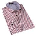 Брендовая мужская клетчатая/полосатая рубашка с длинным рукавом  мужская деловая формальная рубашка  умная повседневная одежда  Camisa Masculina