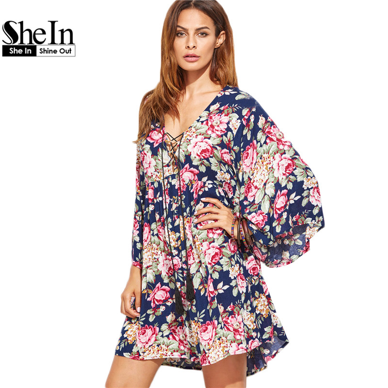 SheIn Bohemian Dress Clothes Women Multicolor Floral Lace Up Three Quarter Length Flare Sleeve Fringe Detail Beach Dress