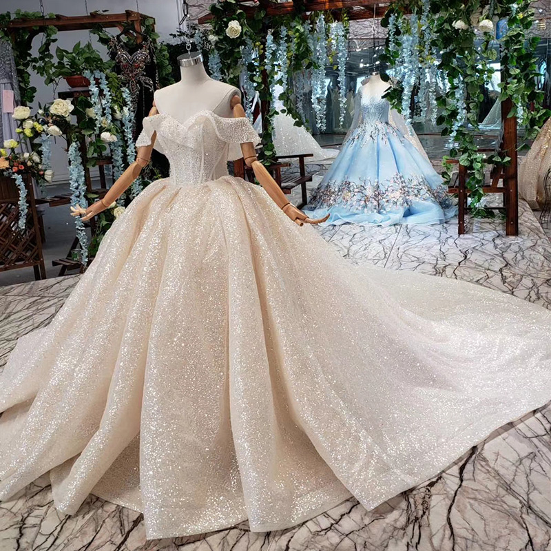 Image 3 - HTL432 shiny wedding dresses with glitter off the shoulder special neck sparckly wedding gowns 2019 new fashion robe de mariee-in Wedding Dresses from Weddings & Events