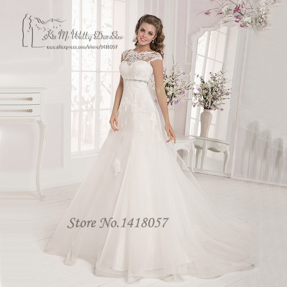 Detail Feedback Questions about Vestido de Noiva Plus Size White Maternity  Wedding Dresses Lace Empire Bridal Dress Gowns Cap Sleeve Corset Back Belt  ... 6b304df0b87c