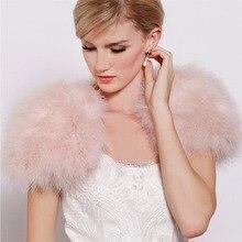 Bridals Black/White Fur Fur Bolero Jackets And Shrugs For Weddings Real Fur Shawl Women Genuine Ostrich Feather Fur Wrap Poncho