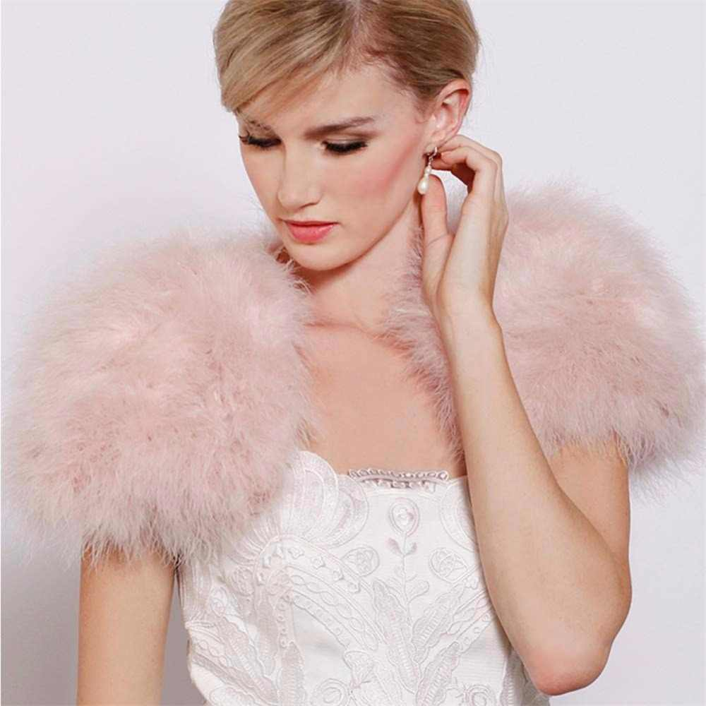 Bridals 黒/白毛皮毛皮ボレロジャケットと肩をすくめる結婚式リアルファーショール女性本物のダチョウの羽の毛皮ラップポンチョ
