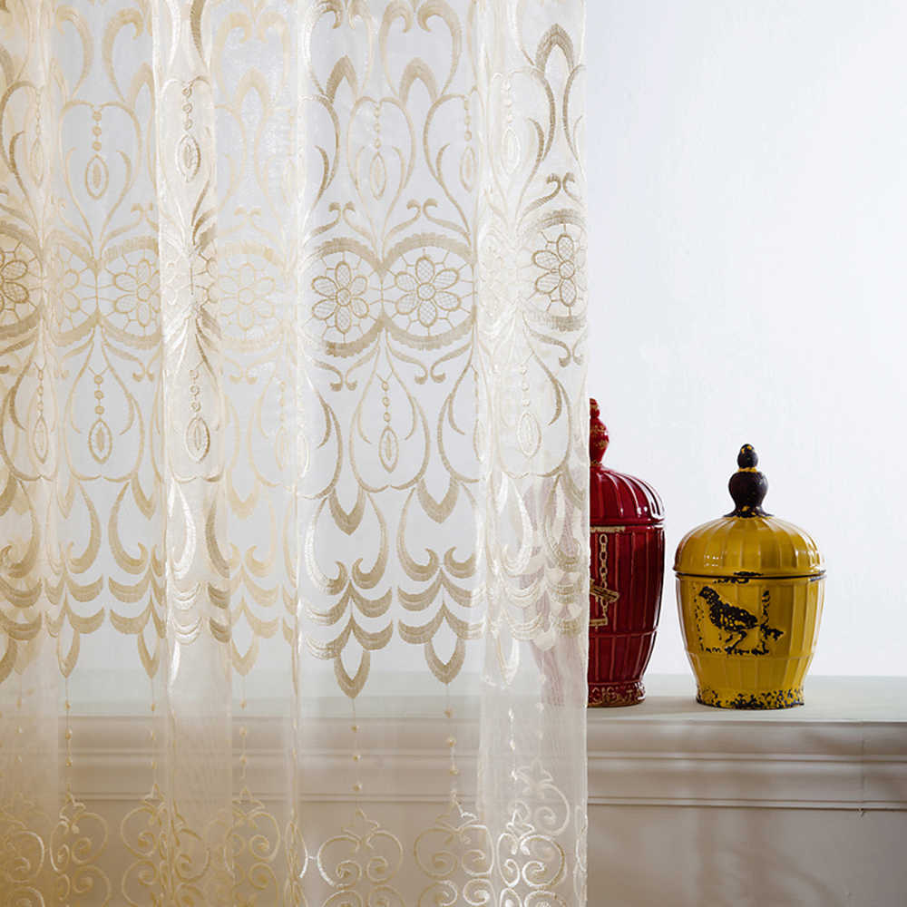 European Luxury Sheer Voile Curtains for Living Room Floral Embroidery Window Drapes Fabric Ready Made Tulle for Bedroom WP0663