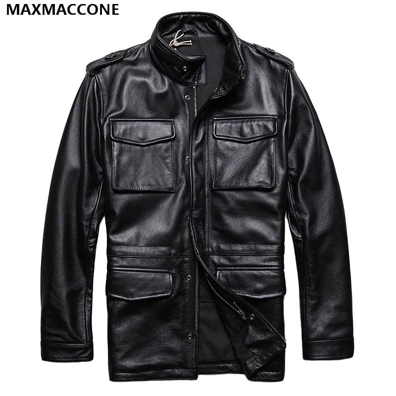 2018 Для мужчин длинные M65 кожаная куртка Для мужчин Черный цвет; Большие размеры XXXXXL натуральной плотной коровьей Военная Униформа зимние ко...