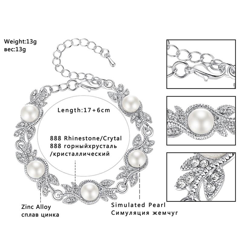 Minmin Simüle İnci Gelin Takı Setleri Gümüş Kristal Bilezik - Kostüm mücevherat - Fotoğraf 5