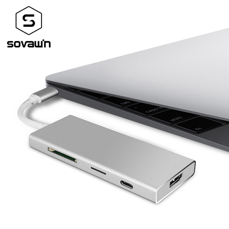 USB Type C 4k USB C to Hub 3.0 and HDMI for Macbook Pro TF Sd Card Reader Dock Station Type-C High Speed 7 Ports Aluminum