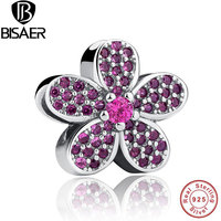 BISAER 925 Sterling Silver Purple Crystals Flower Noble Female Charm Fit Bracelet Necklace Jewelry Accessories
