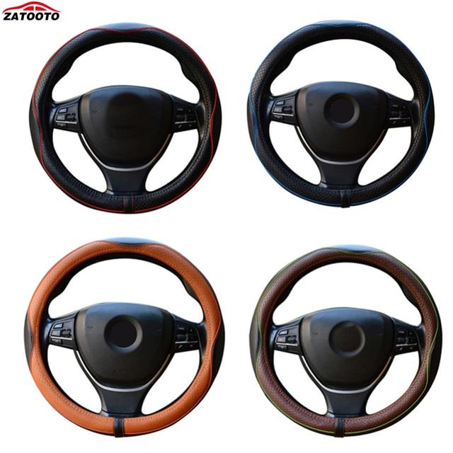 Genuine Leather Car Steering Wheel Cover Durable Breathable Antiskid Steering-wheel Cover For Four Seasons Car Accessories