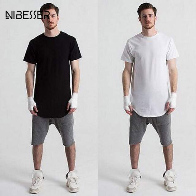 NIBESSER Fashion T-shirts Men Short Sleeve Bottom Top Arc hem longer  Fitness Tee Tights Solid Workout Clothes Shirts d3a6037527a