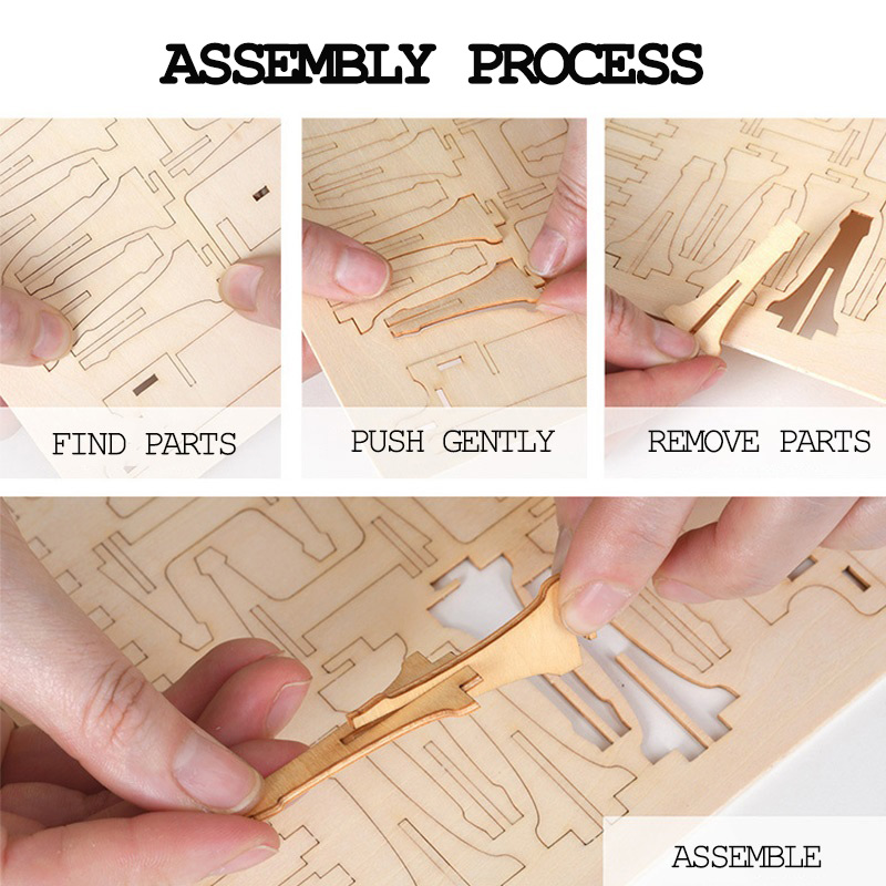 MOMEMO Diy Adults 3D Wood Puzzle Rubber Band Gun 3D Assembled Wooden Puzzle Toys Wooden Puzzles for Kids Educational Toys Gifts in Puzzles from Toys Hobbies