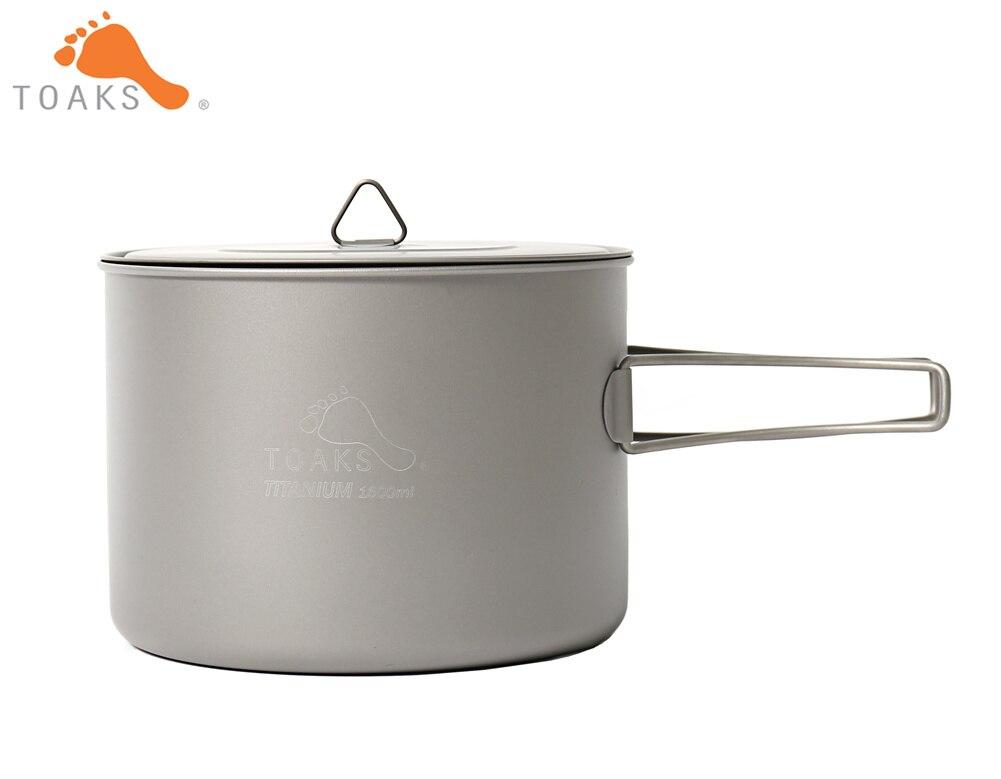 TOAKS POT-1600 Pur Titane Camping Ustensiles de Cuisine En Plein Air Pots, Peut être Utilisé Comme un Tasses, bols et Casseroles 1600 ml 194g