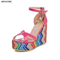 2017 New National Style Women Sandals Wedges Heel Sandal Woman Rainbow Colors Women Shoes Casual Summer