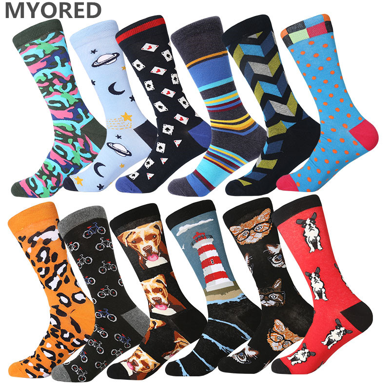 MYORED 1pair dropshipping 12 colors male combed cotton colorful funny   socks   Calcetines Largos Hombre