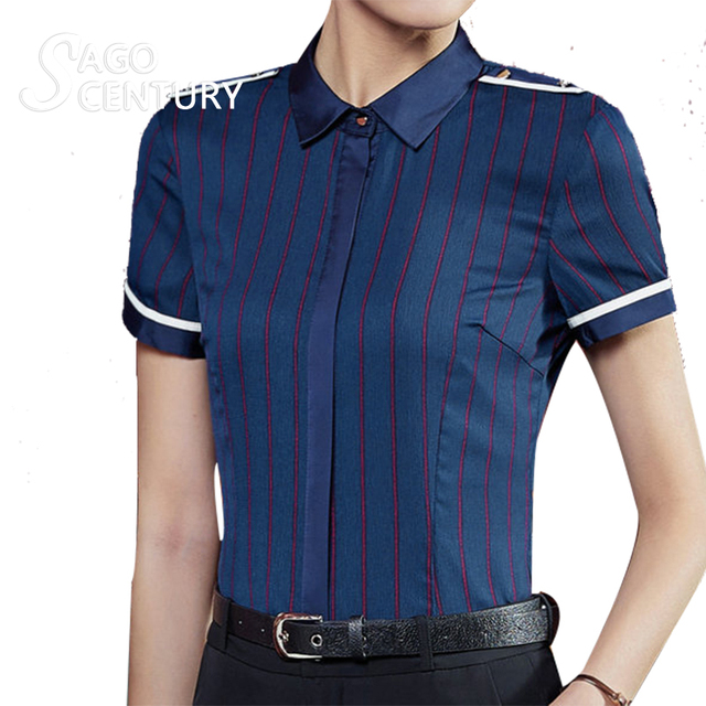 bb17ed4f04 2017 Fashion New Slim Women Summer Work Uniform Shirt Formal Short Sleeve  Elegant Blouse Office Striped Blusas Female Blouses