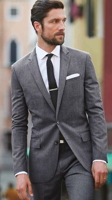 Gray 2 Pieces Italian Style Groom Tuxedos Slim Fit Mens Wedding ...