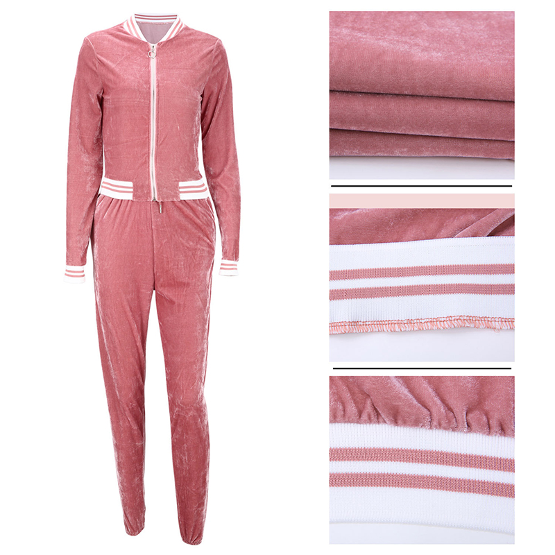 2 TWO PIECE SET Casual Tracksuit Velour Jacket Zipper For Women Pants Track Suit Long Sleeve Sweatsuits Large Plus Size Winter 5