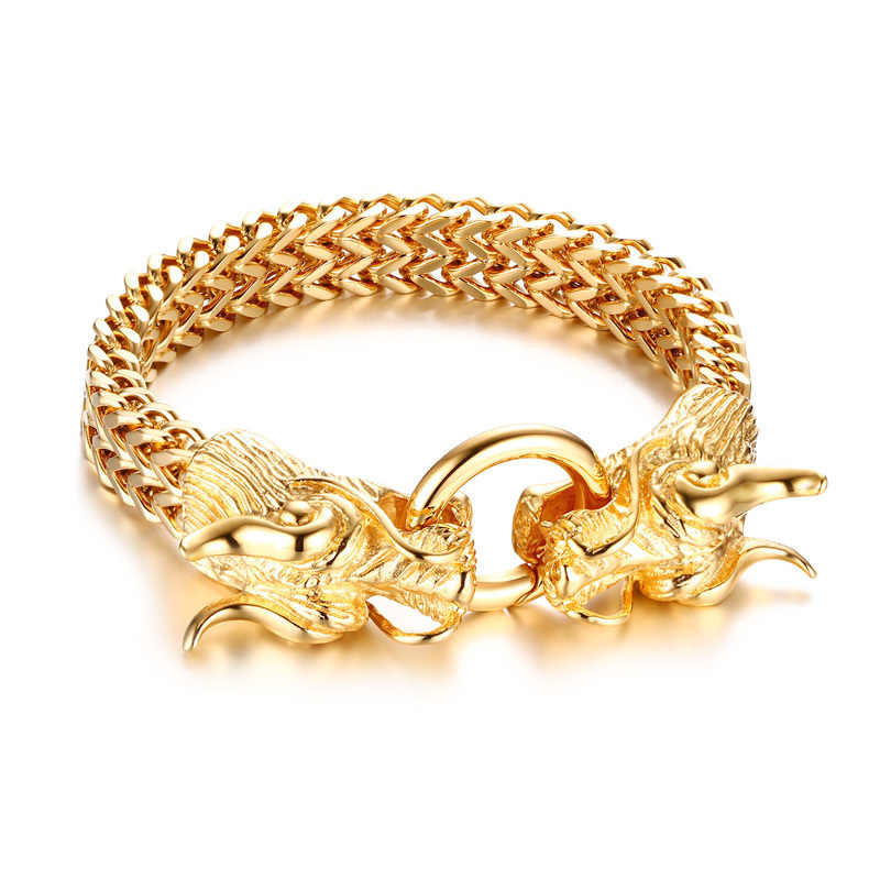 e5066a44a1715 ... Men's Punk Double Dragon Head Herringbone Chain Bracelet for Men  Braslet Stainless Steel Gold Tone Hip