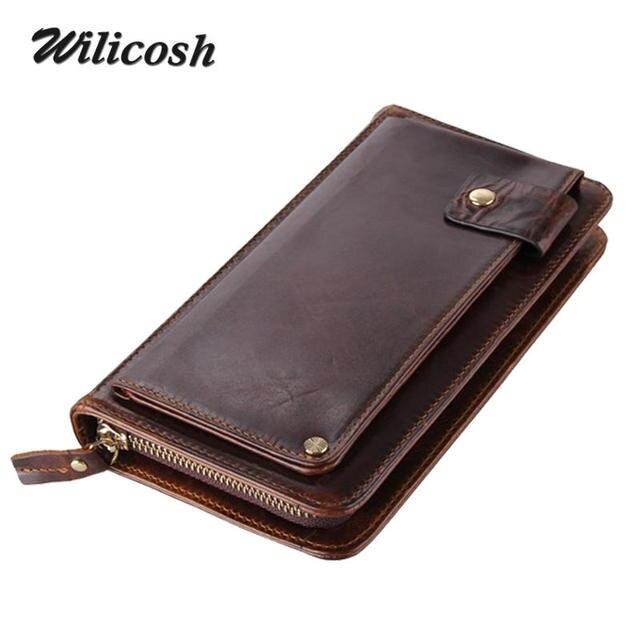 Wilicosh Brand Men Genuine Leather Wallets Famous Designer Long Purses Multi-card Bit Wallet Money Clip Cowhide Clutch Bag WL163