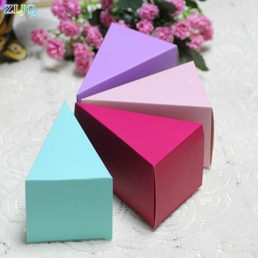 Amawill, 50 шт./лот, треугольная коробка для торта, свадебных конфет, для дня рождения, вечеринки, для детского душа, треугольная коробка для шоколада, подарочные коробки, вечерние, сувениры, 8D