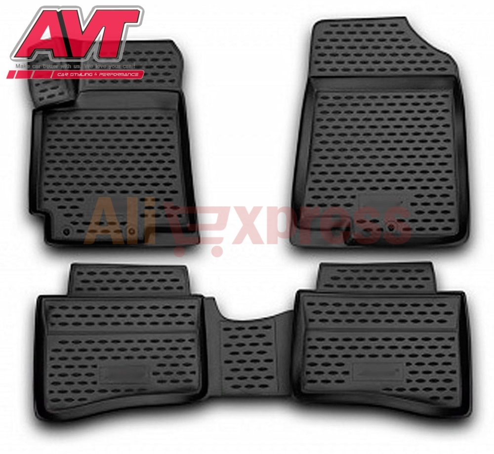 Floor mats for Hyundai Solaris 2014 2017 sedan 4 pcs rubber rugs non slip rubber interior