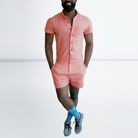 Fashion Summer Mens Rompers Male Single Breasted Jumpsuit Cargo Short Pants Boyfriend Zip Trousers Short Sleeve Party Overalls