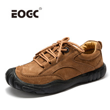 Купить с кэшбэком Genuine Leather Men Shoes Autumn Lace-Up Casual Shoes Waterproof Outdoor Rubber Shoes Men High Quality Man Flats