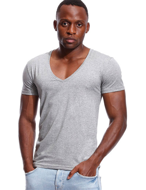 Deep V Neck T Shirt For Men Low Cut Vneck Wide Vee Tee Male Tshirt Invisible Undershirt Model Scoop Hem Slim Fit Short Sleeve T Shirts Aliexpress