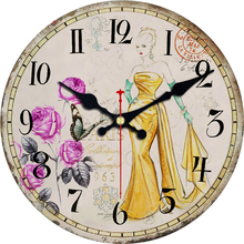 Vintage Girl Dress Clock Silent Living Room Decor Study Office Kitchen Watches Wall Art Shabby Chic Large 3 Size