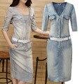New Fashion ladies ' Denim vestido, Magro sexy boate vestido decote em v profundo das mulheres Denim jean vestido casual vestidos frete grátis C1