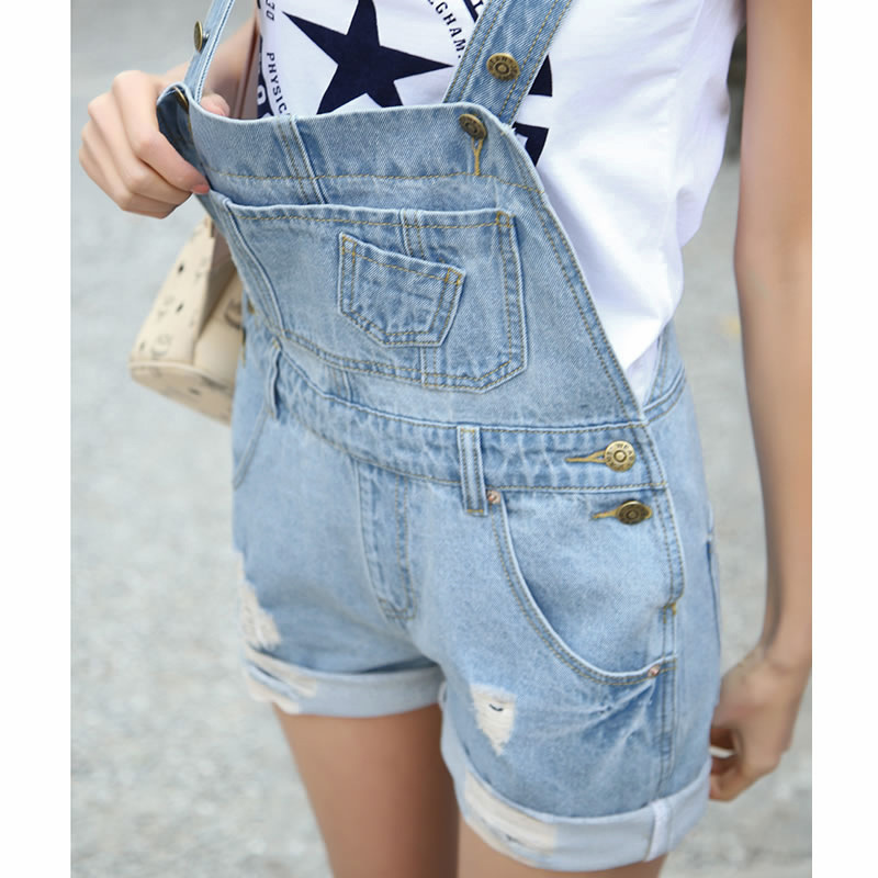 8959e9ebf0d3 Aliexpress.com   Buy size S L women overalls jumpsuit 2016 summer Washed Jeans  Denim Casual Hole Romper Overalls Light Blue Jeans Shorts Pants y45 from ...