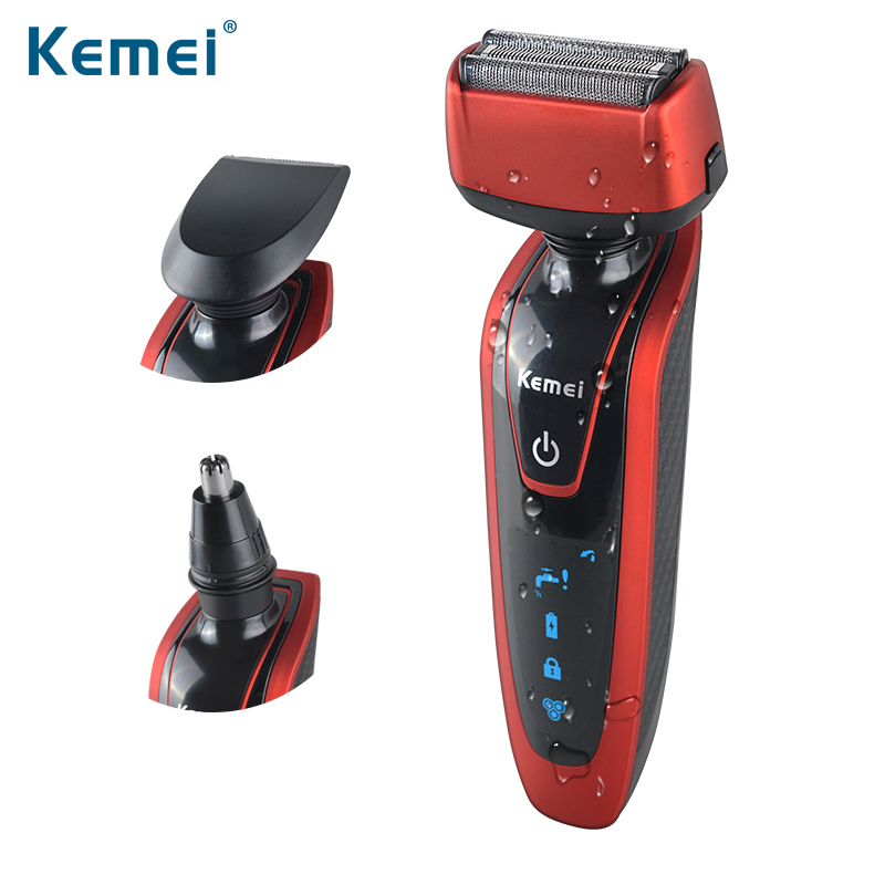 Kemei5889  Reciprocating 3 in 1 Razor Rechargeable Electric Shaver Triple Blade Shaving Razors Men Face Care 3D Floating kemei 220v washable reciprocating electric shaver men rechargeable beard razor trimmer 3d floating triple blade shaving machine