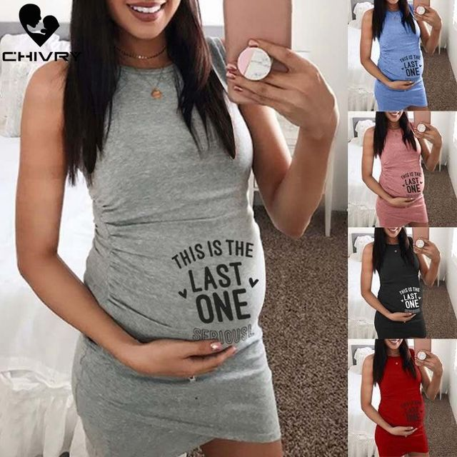 Sleeveless Maternity Dress with O-neck  1