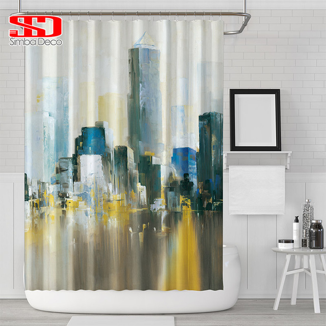 Modern Oil Painting New York City Shower Curtains For Bathroom Waterproof Printed Contemporary Polyester Fabric