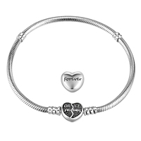 Europa Stil Original Neue Design Immer Freund-europäische Logo Herzform Design Verschluss 925 Geniune Silber Grundlegenden Armband Armreif
