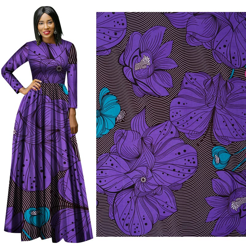 Me-dusa 2019 Latest purple African Print Wax Fabric 100% cotton Hollandais Wax DIY Dress Suit cloth 6yards/pcs High quility(China)