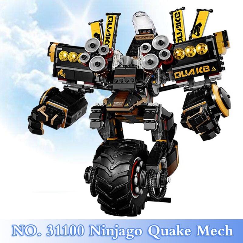 где купить 2018 New Ninja Movie Series 1250Pcs Quake Mech Figures Building Blocks Bricks Set Children Toys Model Kits Gift Compatible 70632 по лучшей цене