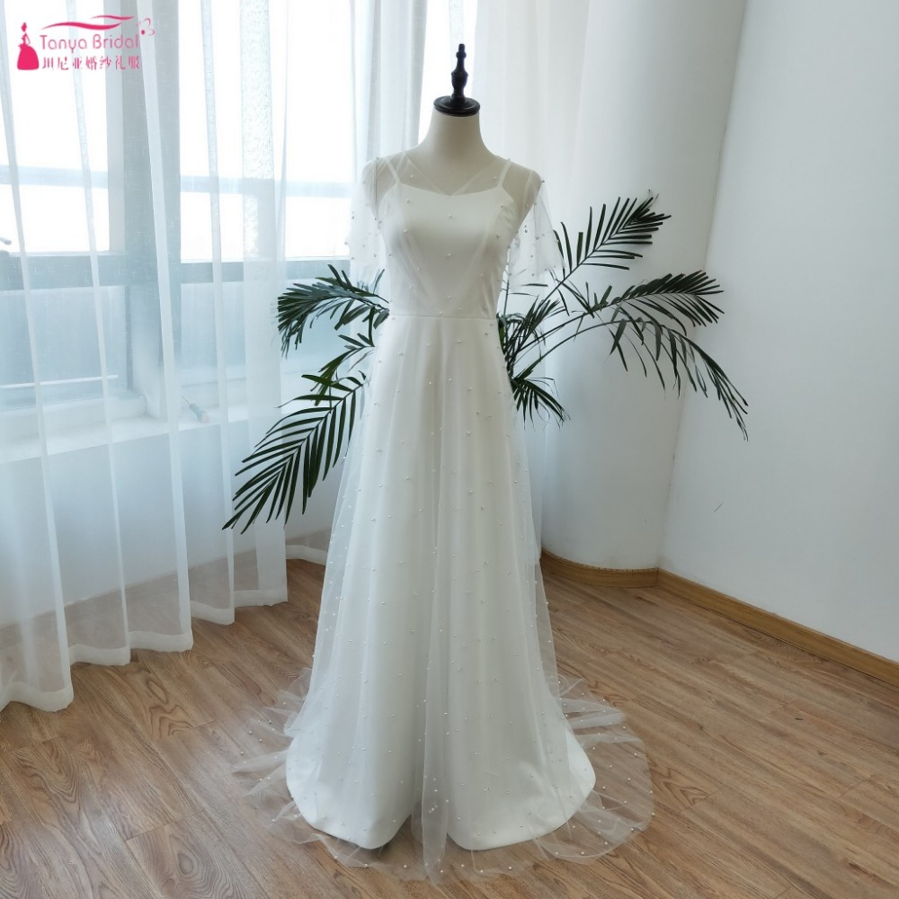 Exquisite Wedding Gowns: Wedding Dresses 2019 Soft Satin With Pearls Tulle Elegant