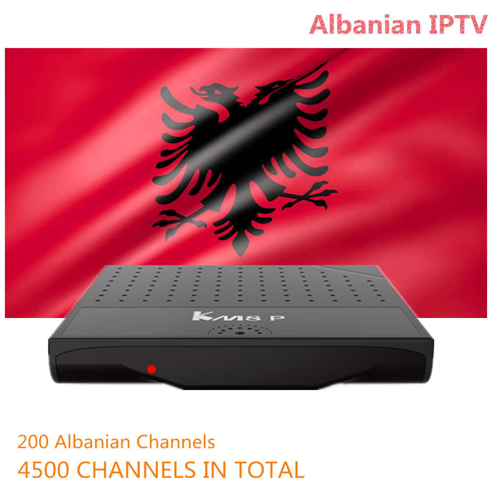 Albanian IPTV KM8 P Amlogic S912 Octa Core Android 6.0 Smart TV Box 1G RAM 8G ROM HD 2.0 4K KM8P Netherlands french iptv h96 pro belgium netherlands luxembourg europe iptv iptv s912 octa core 3g ram 32g gb rom android 6 0 tv box