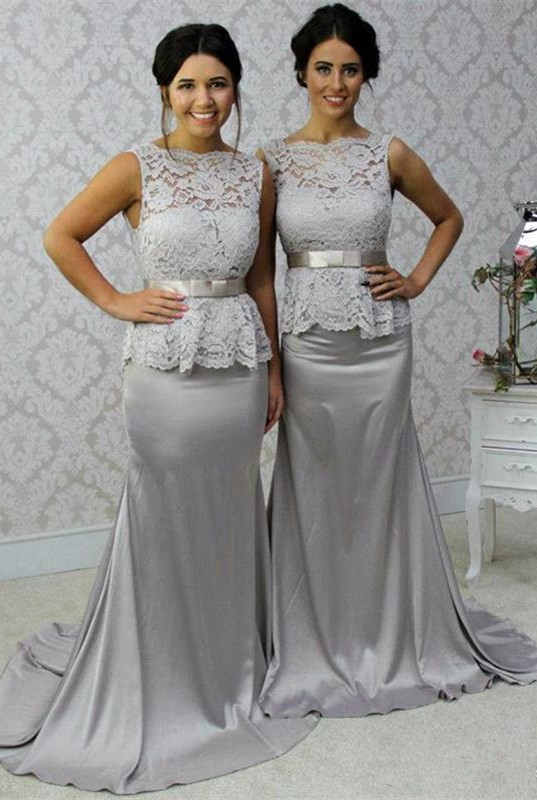 2018 Formal Silver Satin Mermaid   Bridesmaid     Dresses   Scoop Lace Tank Sashes Women Wedding Party   Dresses   Custom Made New