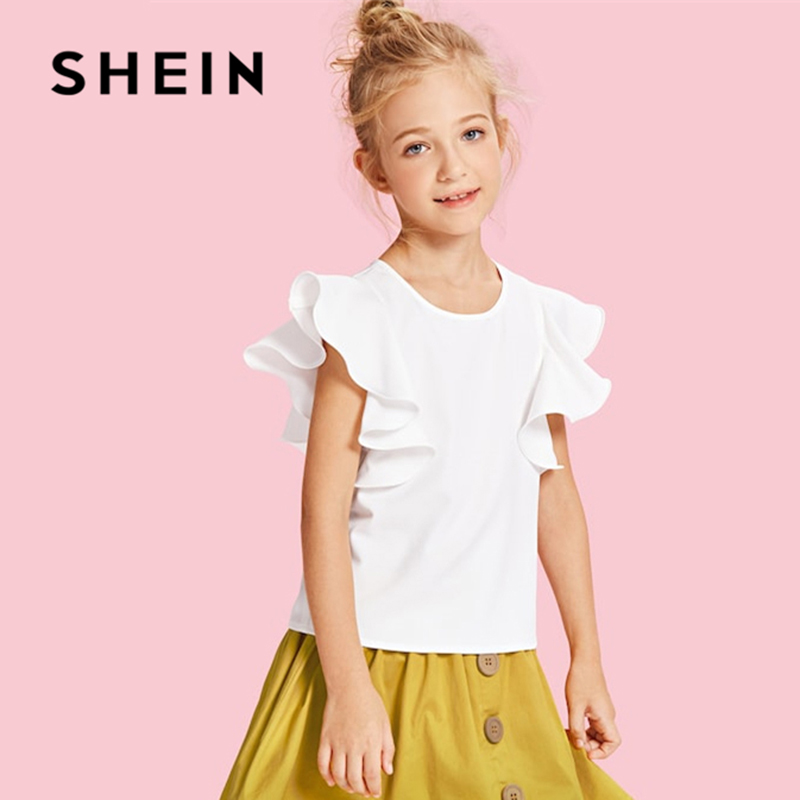 SHEIN White Butterfly Sleeve Ruffle Cute Kids Shirt Girls Blouses 2019 Summer Korean Fashion Elegant Tee Shirts For Girls Tops slit sleeve knot ruffle blouse