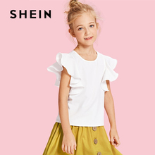 SHEIN White Butterfly Sleeve Ruffle Cute Kids Shirt Girls Blouses 2019 Summer Korean Fashion Elegant Tee Shirts For Girls Tops