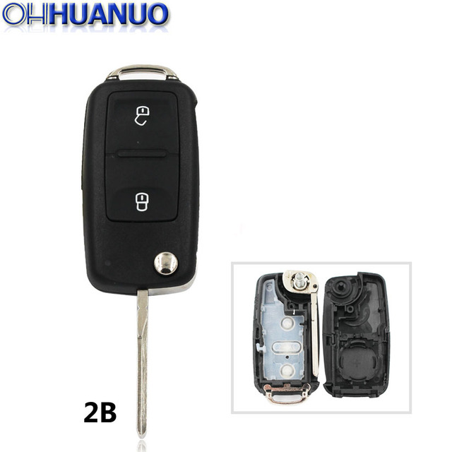 New Model Remote Key Shell 2 Buttons Flip Remote Key Replacement Shell Case for VW Amarok/Crafter/Touareg 2011