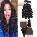 3 Bundles Brazilian Virgin Hair Loose Wave With Closure 8A Brazilian Hair Weave Bundles Thick Loose Wave Human Hair With Closure