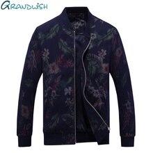 Grandwish/Весна и осень мужская куртка с цветочным принтом Мужская куртка плюс Размеры 4XL Стенд воротник Мужская куртка Повседневная Цветочный, DA130