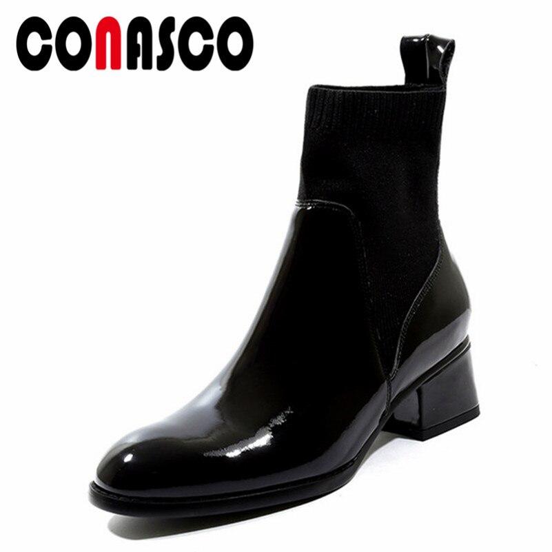 CONASCO nouvelle mode Style européen noir bottines bout rond Martin bottes en cuir chaussures femme court moto bottes
