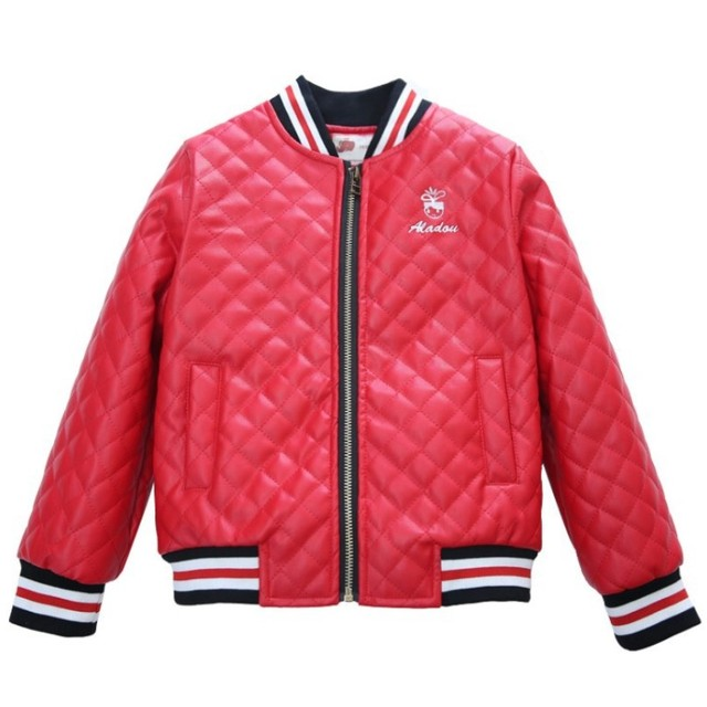 f6c6a6e03 Fashion Children Kids Girls Warm Thick PU Leather Bomber Jacket ...