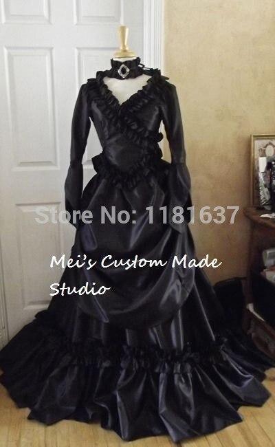 Dracula Custom Période Mina Victorien Agitation Version Robe Made Noir Prix Couleur Inférieure Dress 5ALRjc34q