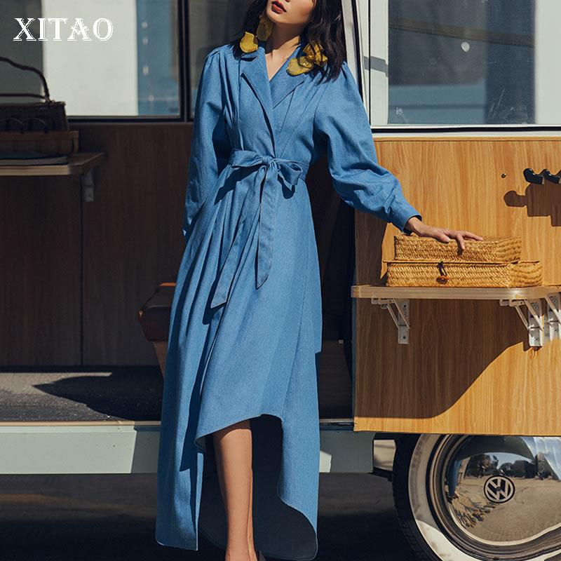 2019 Vintage Jean Blue Asymétrique Casual Manches Pleine Femelle Robe Printemps Couleur xitao Cheville Solide Temperamen Dll2340 longueur xBXwqCw6