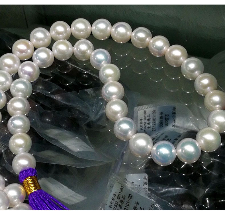 AAA 10-11 MM ROUND SOUTH SEA GENUINE WHITE PEARL NECKLACE 18  14 k goldAAA 10-11 MM ROUND SOUTH SEA GENUINE WHITE PEARL NECKLACE 18  14 k gold